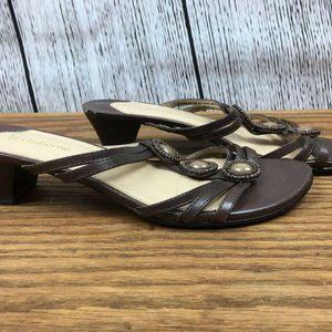Liz Claiborne Women Brown Slip On Sandals Leather